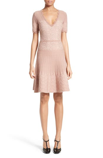 Yigal Azrouel Knit Jacquard Fit & Flare Dress, Coral