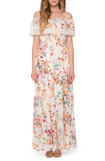 Willow & Clay Lace Trim Off The Shoulder Maxi Dress, Ivory