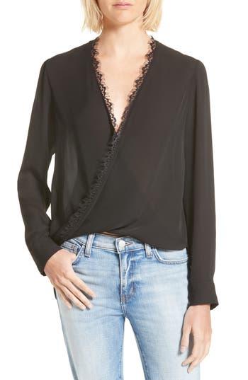 Women's L'Agence Rosario Lace Trim Silk Surplice Blouse