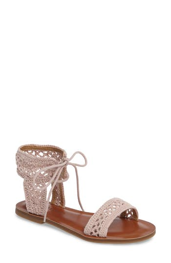 Lucky Brand Ariah Ankle Tie Sandal, Pink