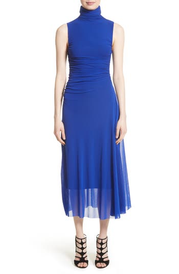 Fuzzi Tulle Turtleneck Midi Dress, Blue