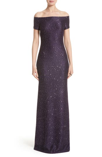 St John Evening Hansh Sequin Knit Off The Shoulder Gown