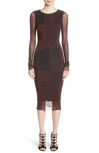 Fuzzi Long Sleeve Tulle Midi Dress, Burgundy
