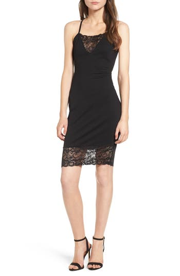 Women's Love, Nickie Lew Lace Inset Body-Con Dress, Size Medium - Black