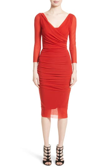 Fuzzi Ruched Tulle Sheath Dress, Red
