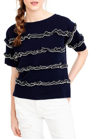 J.crew Ruffle Boatneck Sweater, Blue