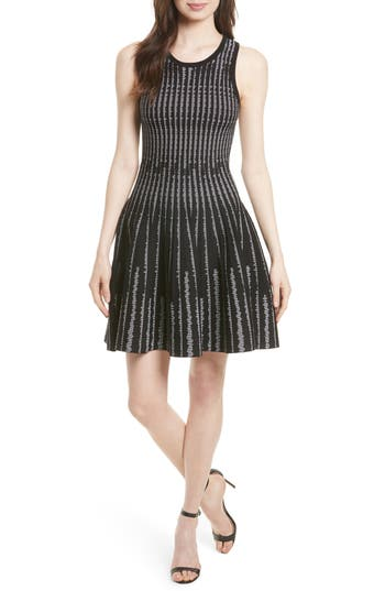Milly Vertical Optic Fit & Flare Dress, Size Petite - Black