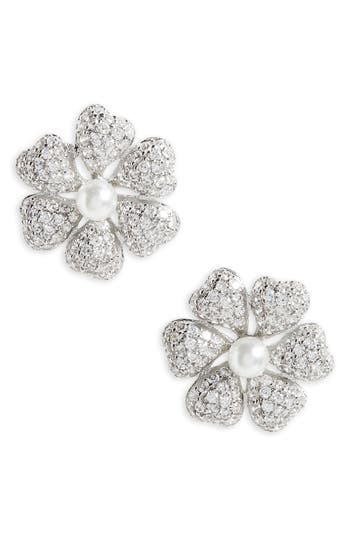 Women's Nina Flower Crystal & Imitation Pearl Stud Earrings