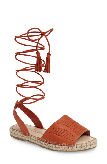Women's Sole Society Clover Ankle Wrap Espadrille Sandal, Size 5 M - Red