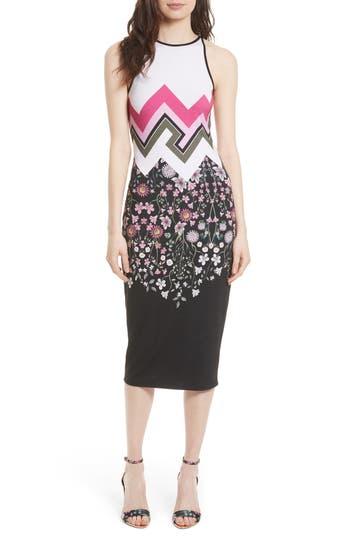 Ted Baker London Seenaa Print Jersey Midi Dress, Black