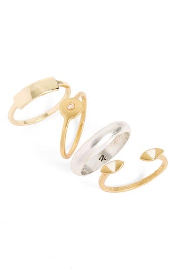 Women's Madewell Eye Set Of 4 Stackable Rings