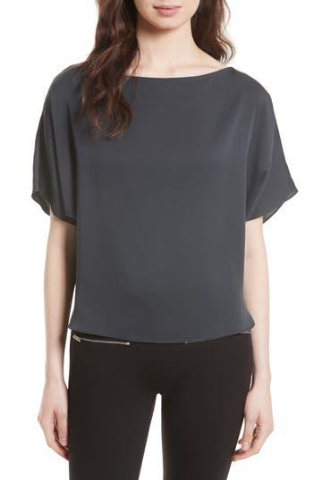 Women's Milly Dolman Sleeve Stretch Silk Top, Size Petite - Grey
