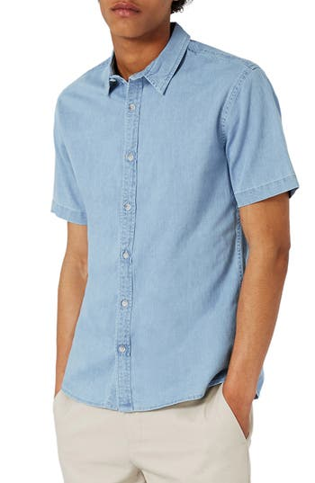 Men's Topman Muscle Fit Denim Shirt