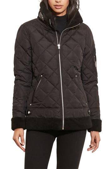 Women's Lauren Ralph Lauren Faux Shearling Trim Quilted Bomber Jacket, Size X-Small - Black