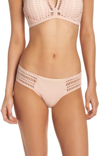 Women's Robin Piccone Crochet Bikini Bottoms, Size Large - Pink