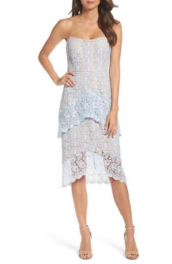 Cooper St Taha Tiered Lace Midi Dress, Blue