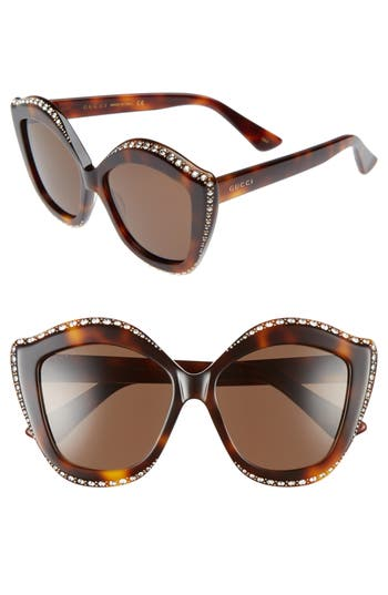 Women's Gucci 52Mm Cat Eye Sunglasses - Black/ Silver