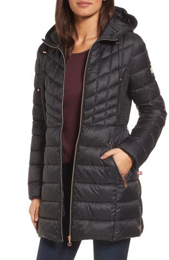 Women's Bernardo Hooded Packable Down & Primaloft Coat