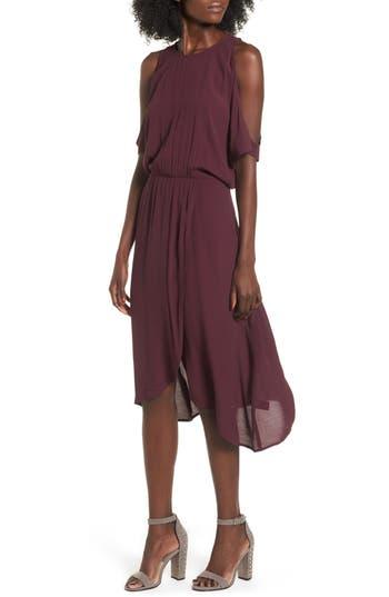 Women's Leith Cold Shoulder Midi Dress, Size X-Large - Burgundy