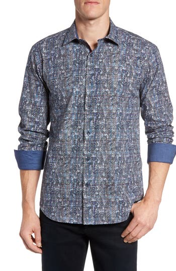 Men's Bugatchi Shaped Fit Paisley Plaid Sport Shirt