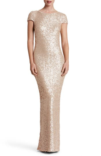Dress The Population Teresa Body-Con Gown, Metallic