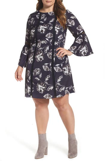 Plus Size Vince Camuto Bell Sleeve Shift Dress