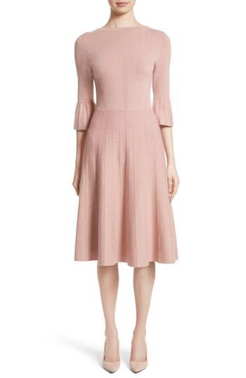 Lela Rose Metallic Knit Fit & Flare Dress, Pink