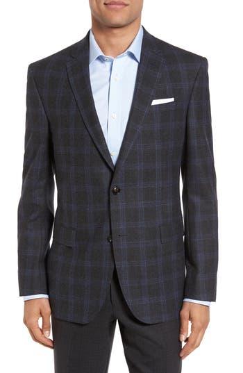 Ted Baker London Jay Trim Fit Plaid Wool Sport Coat, S - Grey