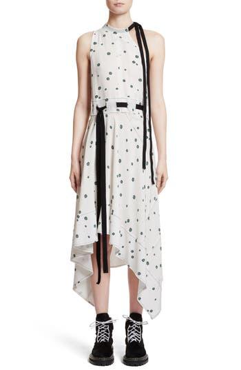 Proenza Schouler Print Silk Asymmetrical Dress, White