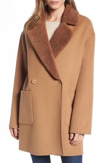 Trina Turk Dawn Genuine Shearling Collar Double Face Coat, Beige
