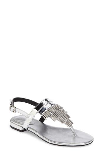 Calvin Klein Evonie Metal-Fringed V-Strap Sandal, Metallic