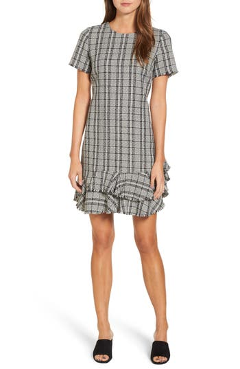 Chelsea28 Tweed Ruffle Shift Dress