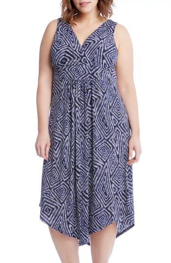 Plus Size Karen Kane Asymmetrical Hem Geo Print Midi Dress, Blue