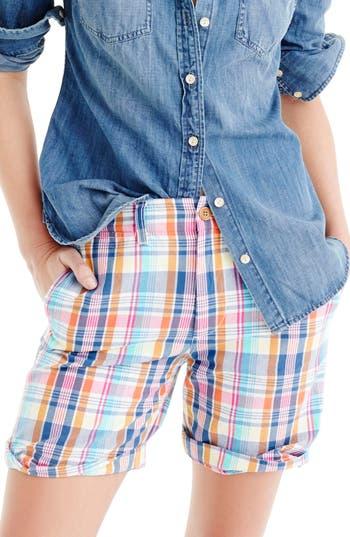 Women's J.crew Pink Vintage Plaid Boyfriend Shorts