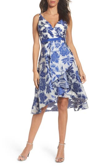Adrianna Papell Burnout Jacquard Fit & Flare Dress