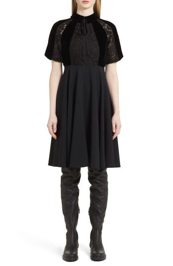 Valentino Guipure Lace Inset Crepe Dress, Black