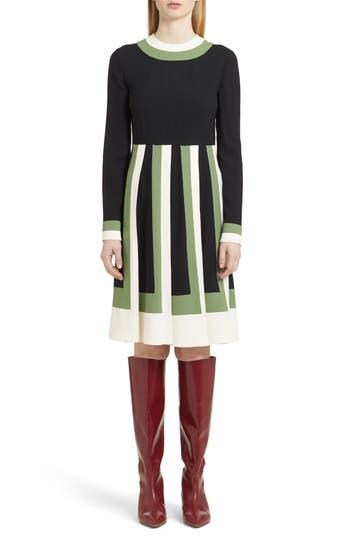 Valentino Multicolor Pleat Crepe Dress, Black
