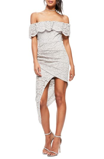 Missguided Off The Shoulder Asymmetrical Lace Dress, US / 6 UK - Grey