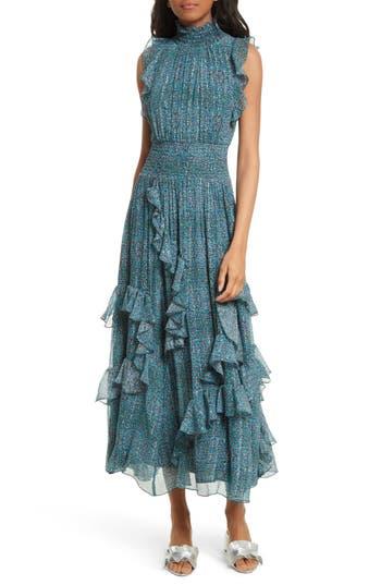 Rebecca Taylor Minnie Floral Maxi Dress, Blue/green
