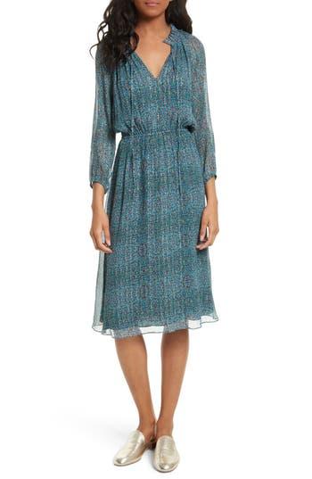 Rebecca Taylor Minnie Floral Chiffon Dress, Blue/green