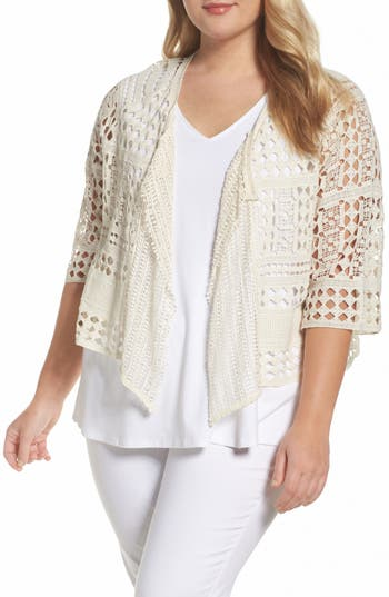 Plus Size Women's Xcvi Wearables Cosima Cotton Crochet Cardigan, Size 1X - Ivory