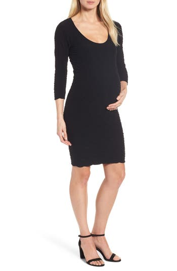 Tees By Tina Crinkle Maternity Sheath Dress, Size One Size - Black