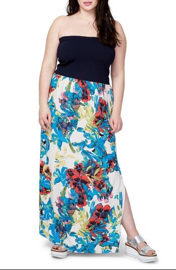 Plus Size Rachel Rachel Roy Strapless Mixed Media Maxi Dress, Blue