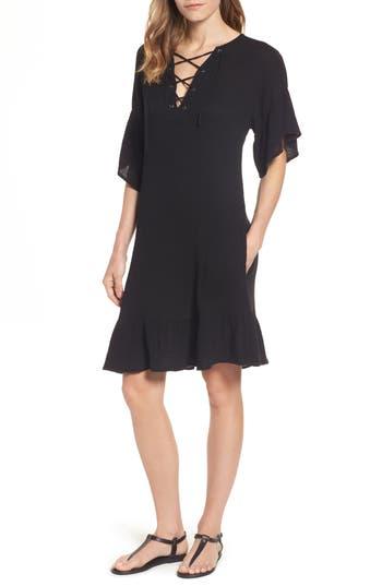 Velvet By Graham & Spencer Lace-Up A-Line Dress, Black