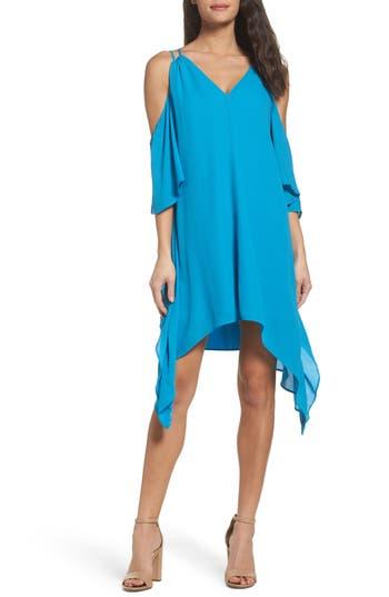 Adelyn Rae Fiona Cold Shoulder Shift Dress, Blue/green