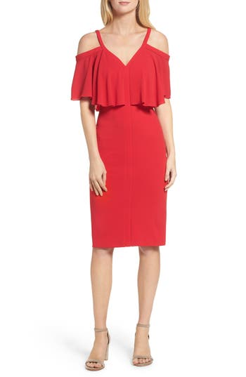 Maggy London Catalina Crepe Popover Dress, Red