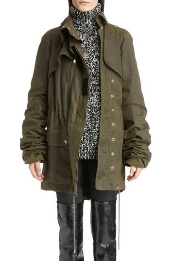 Women's Saint Laurent Waxed Cotton Toile Parka