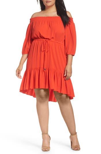 Plus Size Vince Camuto Off The Shoulder Crepe Dress, Pink