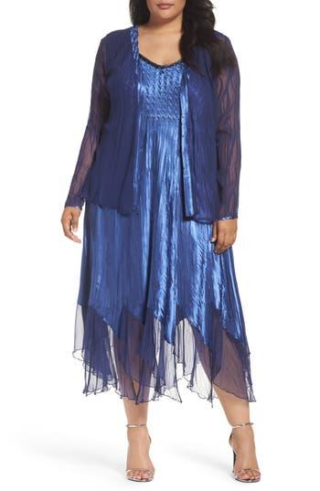 Plus Size Komarov Embellished A-Line Dress And Jacket, Blue