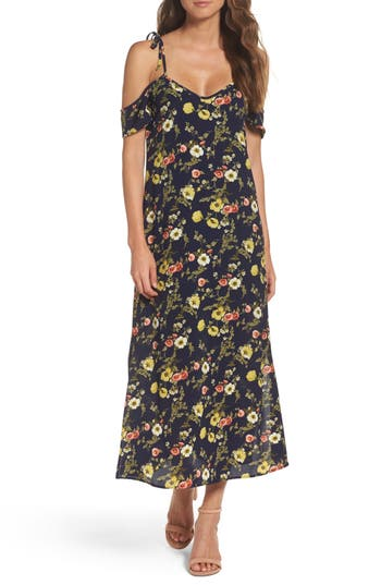 Nsr Tie Cold Shoulder Midi Dress, Blue